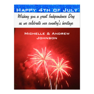 Salutations 4 juillet heureuses cartons d'invitation