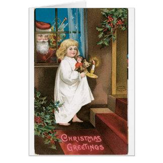 Salutations démodées de Noël Carte De Vœux