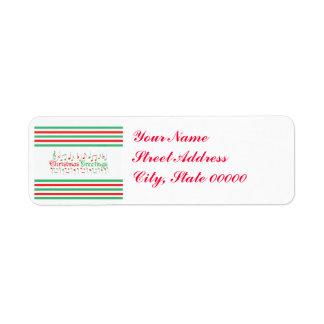 Salutations rouges et vertes de Noël Étiquettes D'adresse Retour
