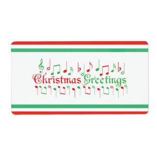 Salutations rouges et vertes de Noël Étiquette D'expédition