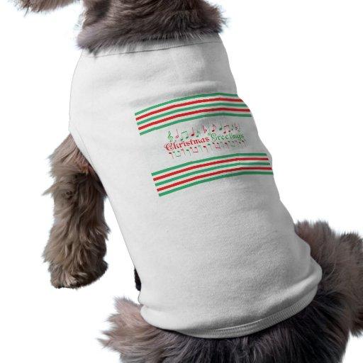 Salutations rouges et vertes de Noël Tee-shirts Pour Chien