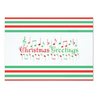 Salutations rouges et vertes de Noël Carton D'invitation 12,7 Cm X 17,78 Cm