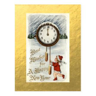 Salutations vintages de bonne année de feuille cartes postales
