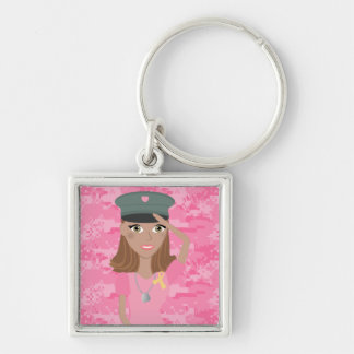 Saluting Lady (dark skin) Silver-Colored Square Keychain