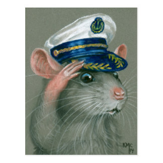 Saluting Rat Sailor Postcard kmcoriginals