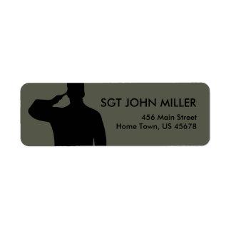 Saluting Soldier Return Label