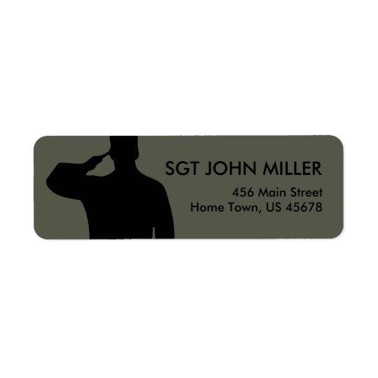 Saluting Soldier Return Label Return Address Label
