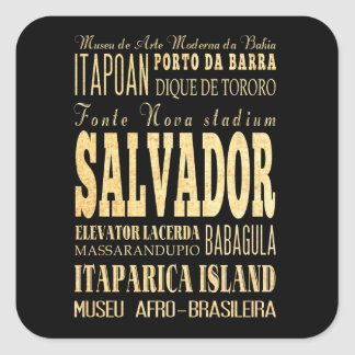 Salvador City of Brazil Typography Art Square Sticker