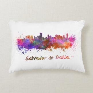 Salvador de Bahia skyline in watercolor Accent Pillow