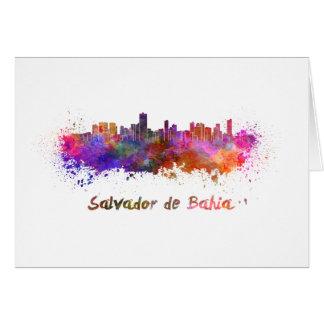 Salvador de Bahia skyline in watercolor Card