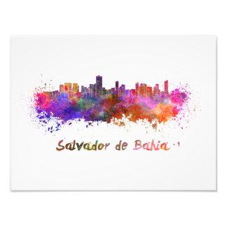 Salvador de Bahia skyline in watercolor Photographic Print