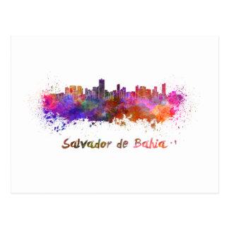 Salvador de Bahia skyline in watercolor Postcard
