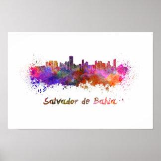 Salvador de Bahia skyline in watercolor Poster