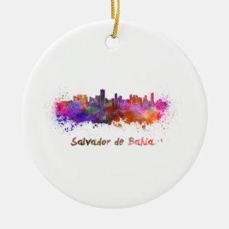 Salvador de Bahia skyline in watercolor Round Ceramic Ornament