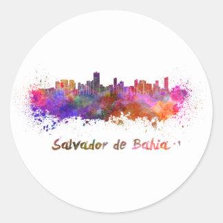Salvador de Bahia skyline in watercolor Round Sticker