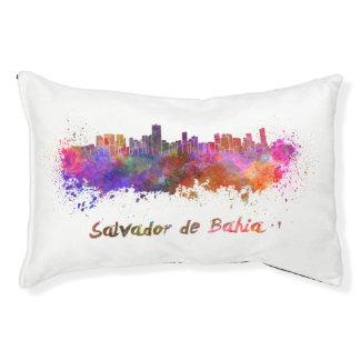 Salvador de Bahia skyline in watercolor Small Dog Bed