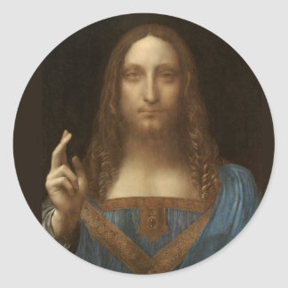 Salvator Mundi by Leonardo da Vinci circa 1500 Classic Round Sticker