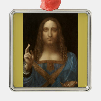 Salvator Mundi by Leonardo da Vinci circa 1500 Metal Ornament