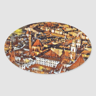 Salzburg In Art Oval Sticker