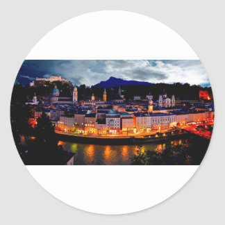 Salzburg Night Skyline Classic Round Sticker