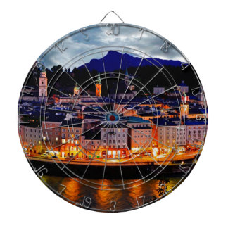 Salzburg Night Skyline Dartboard
