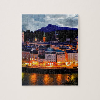 Salzburg Night Skyline Jigsaw Puzzle