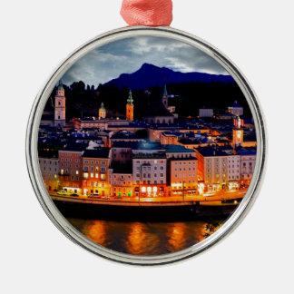 Salzburg Night Skyline Metal Ornament
