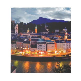 Salzburg Night Skyline Notepad