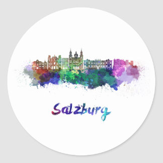 Salzburg skyline in watercolor classic round sticker