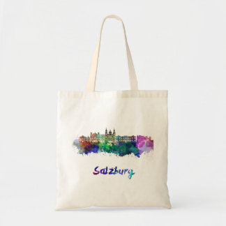 Salzburg skyline in watercolor tote bag