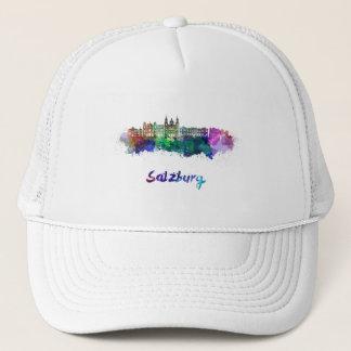 Salzburg skyline in watercolor trucker hat
