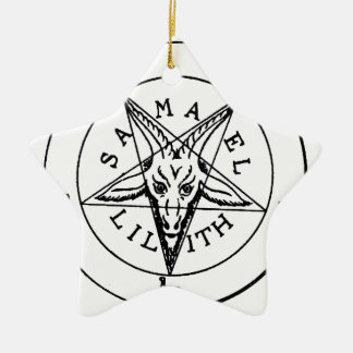 Samael Lilith Goat Pentagram Ceramic Ornament