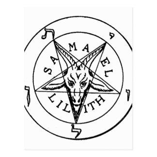 Samael Lilith Goat Pentagram Postcard
