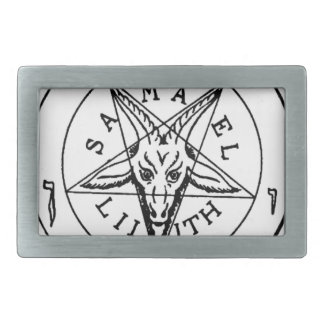 Samael Lilith Goat Pentagram Rectangular Belt Buckle