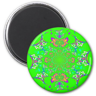 Samba Colorful Bright floral damask design colors 2 Inch Round Magnet