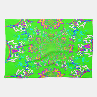 Samba Colorful Bright floral damask design colors Kitchen Towels