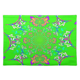 Samba Colorful Bright floral damask design colors Placemats