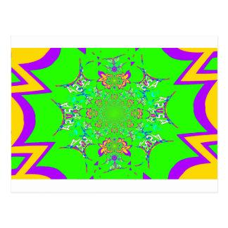 Samba Colorful Bright floral damask design colors Postcard