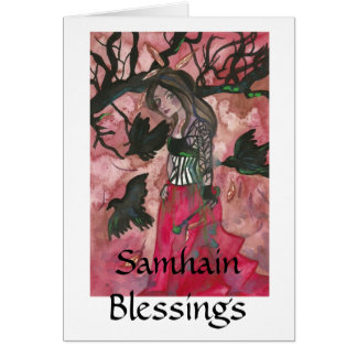 Samhain Blessings Raven Witch Greeting Cards
