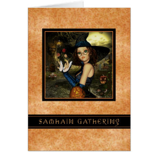 Samhain Gathering - Witch Autumn Leaves Invitation