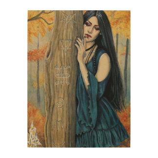 Samhain Gothic Autumn Witch Fantasy Wood Wall Art