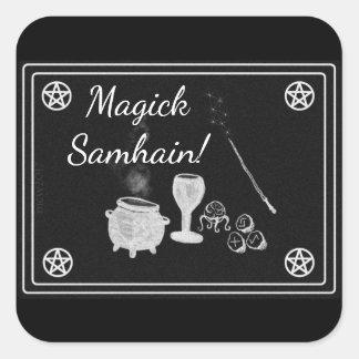 Samhain Magick Tools Black and White Square Sticker