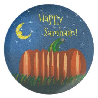 Samhain Pumpkin Under The Moon & Stars Plate