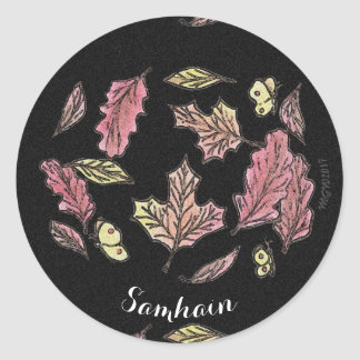 Samhain Swirling Leaves Witch Wiccan Pagan Classic Round Sticker