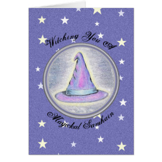 Samhain Witch Wizard Pagan Hat Card