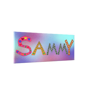 SAMMY Girl's Name Cute Letters Design Abstract Canvas Print