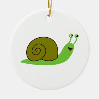 Sammy the Green Garden Snail Ceramic Ornament