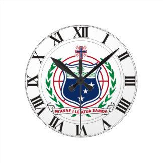 Samoa Coat of Arms Round Clock