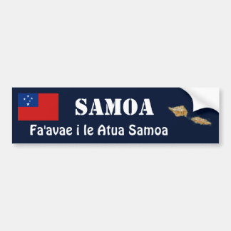 Samoa Flag + Map Bumper Sticker