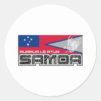 Samoa Muamua Le Atua - American Samoa / Samoa Flag Round Sticker